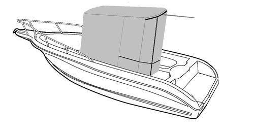 Line art of the T-Top Only Cover boat style