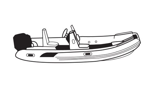 Line art of the Inflatable with Center Console boat style