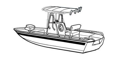 Line art of the V-Hull Center Console Shallow Draft Fishing Boat with T-Top boat style