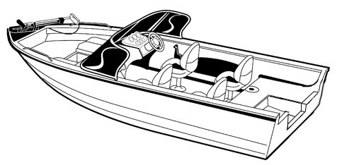 Line art of the Aluminum V-Hull Fishing Boat with Walk-Thru Windshields - Narrow boat style