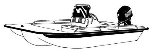 Line art of the Center Console Bay Style Fishing Boat with Shallow Draft Hull - Narrow Series boat style
