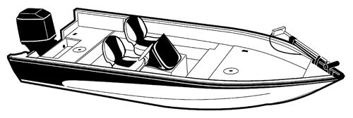 Line art of the V-Hull Fishing Boat with Side Consoles - Narrow boat style