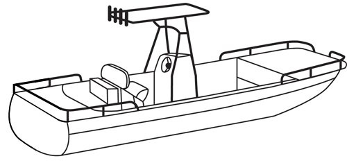 Line art of the Center Console Rounded-Bow Bay Style Fishing Boat with Shallow Draft Hulls and T-Top boat style