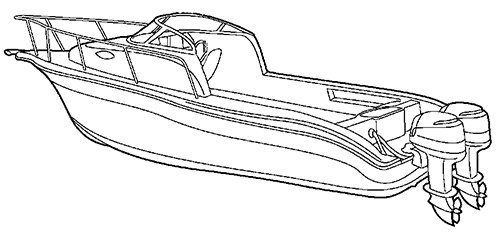 Line art of the Walk Around Cuddy Cabin Boat with Twin Engines boat style