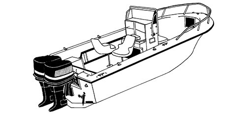 Line art of the V-hull Center Console Fishing Boats with High Bow Rails and Twin Engines boat style