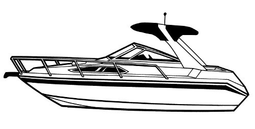 Line art of the High Profile Cabin Cruiser with Radar Arch boat style
