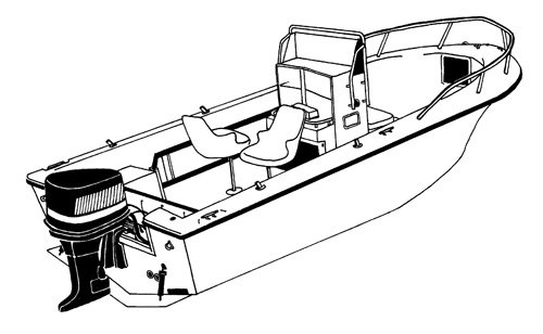 Line art of the V-Hull Center Console Fishing Boat with High Bow Rails - Narrow boat style