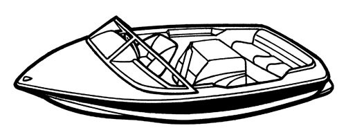 Line art of the Tournament Ski Boat - Narrow boat style
