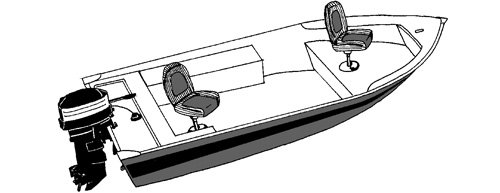 Line art of the V-Hull Fishing Boat - Extra Wide boat style