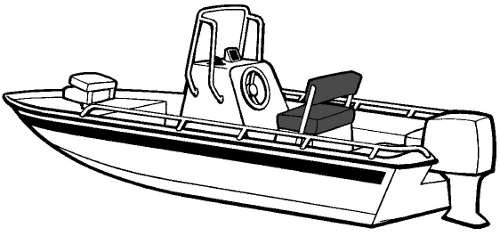 Line art of the V-Hull Center Console Shallow Draft Fishing Boat - Narrow boat style
