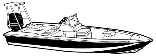 Line art of the V-Hull Center Console Shallow Draft Fishing Boat with Poling Platform - Narrow boat style