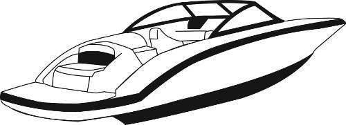 Line art of the V-Hull with Walk-Thru Transom boat style