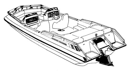Line art of the Deck Boat with Low Rails boat style