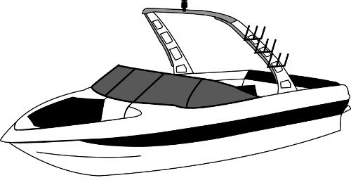 Line art of the Tournament Ski Boat with Rear Mounted Forward-Facing Tower boat style