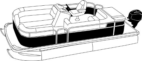 Line art of the Pontoon with Rails that Partially Enclose Decks- Leaving Open Deck at Front and Rear boat style