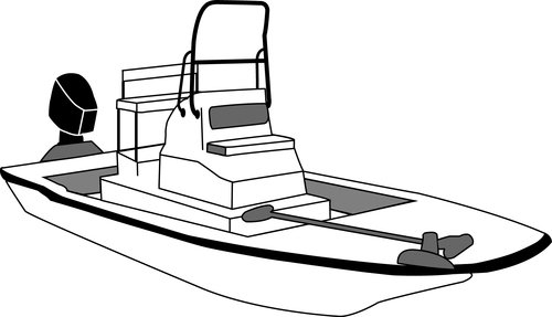 Line art of the Flats Blunt Nose Boat w/High Grab Rail boat style