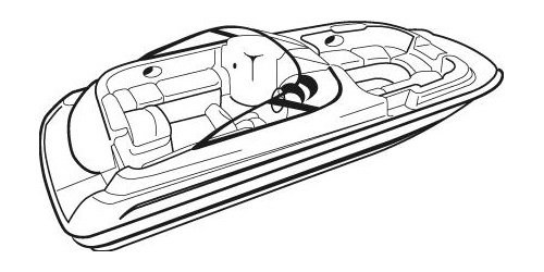 Line art of the Deck Boat with Walk Thru Windshield or Side Console boat style