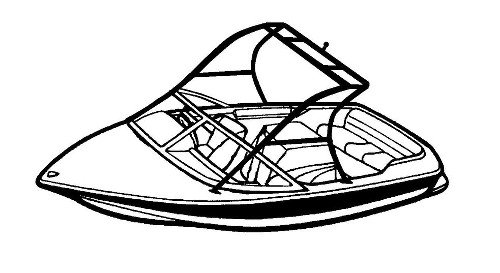 Line art of the Tournament Ski Boat- Over the Tower Cover boat style
