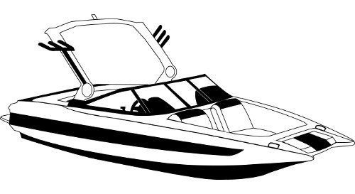 Line art of the Tournament Ski Boat wth Wide Bow- Over the Tower Cover boat style