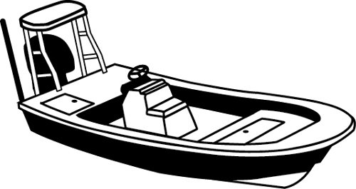 Line art of the Center Console Blunt Nose / Rounded Bow Bay Style Fishing Boat w/ Shallow Draft Hull w/ Poling Platform  boat style