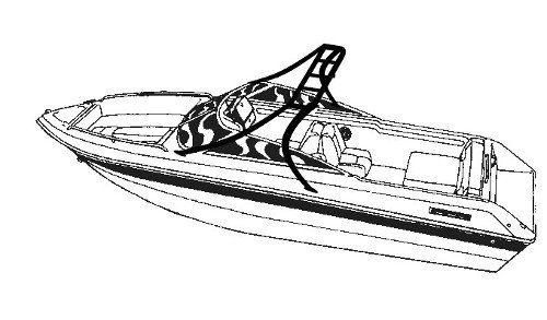 Line art of the V-Hull Runabout Boats/Modified V-Hull Boats with Tower - Over-the-Tower Cover boat style