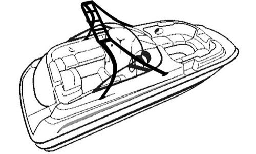 Line art of the Deck Boat with Tower - Over-the-Tower Cover boat style