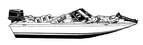 Line art of the Fish & Ski Boat with Walk-Thru Windshield boat style