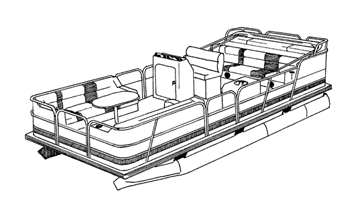 Line Art - Pontoon with Fully Enclosed Decks