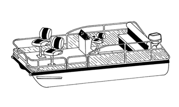 Line Art - Pontoon with Low Rails or Fishing Chairs