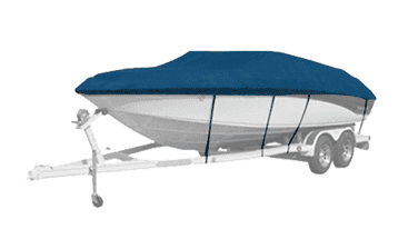 Boat with Blue Exact Fit Westland Boat Cover
