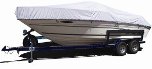 White Westland Select Fit Boat Cover on a Boat