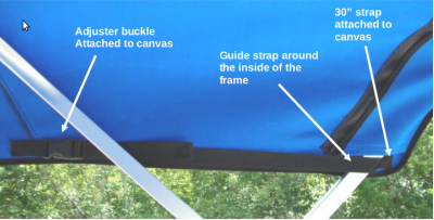 Close-up of Square Tube Pontoon Bimini Replacement Canvas - Blue