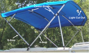 Pontoon Bimini Canvas Replacement For 4 Bow Square Tube