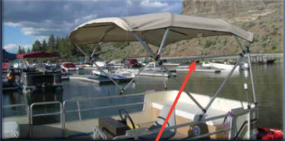 Free Standing Square Tube Pontoon Bimini - Natural