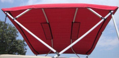 Square Tube Pontoon Bimini with Light Cut-Out - Red
