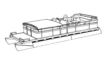 Illustration of a Pontoon with Fold Down Hard Tops and Rails