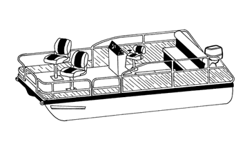 Illustration of a Pontoon with Low Rails or Fishing Chairs