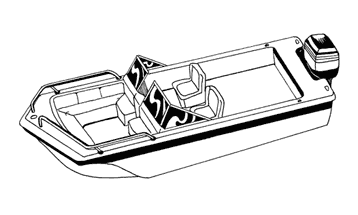 Illustration of a Tri-Hull Runabout Boat with Windshield and Bow Rails