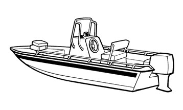 Illustration of a V-Hull Center Console Shallow Draft Fishing Boat