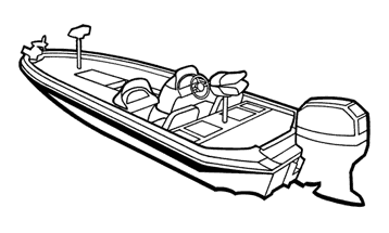 Illustration of a Angled Transom Bass Boat