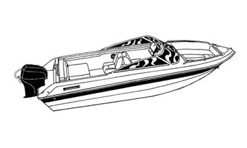 Illustration of a V-hull Runabout Boat with Windshield and Bow Rails