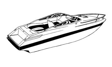Illustration of a V-Hull Low Profile Cuddy Cabin Boat with Windshield and Bow Rails