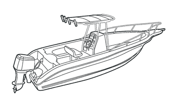 Illustration of a V-Hull Center Console Fishing Boat with High Bow Rails with T-Top