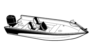 Illustration of a V-Hull Fishing Boat with Side Consoles - Narrow