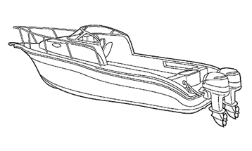 Illustration of a Walk Around Cuddy Cabin Boat with Twin Engines