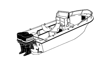 Illustration of a V-hull Center Console Fishing Boats with High Bow Rails and Twin Engines