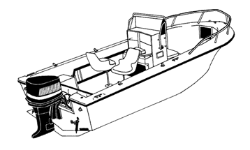 Illustration of a V-Hull Center Console Fishing Boat with High Bow Rails - Narrow