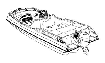 Illustration of a Deck Boat with Low Rails