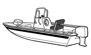 Illustration of a V-Hull Center Console Shallow Draft Fishing Boat - Narrow