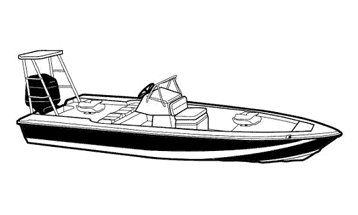 Illustration of a V-Hull Center Console Shallow Draft Fishing Boat with Poling Platform - Narrow